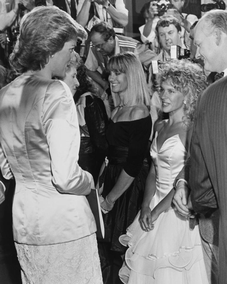 Kylie with Lady Di and Olivia Newton-John, 1988
